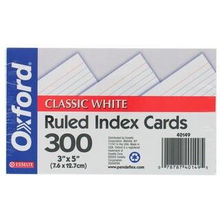 "Oxford 40149 300 Count 3"" X 5"" White Ruled Index Cards"