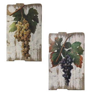 Vintage Vineyard Wooden Wall Art Prints (Set of 2)