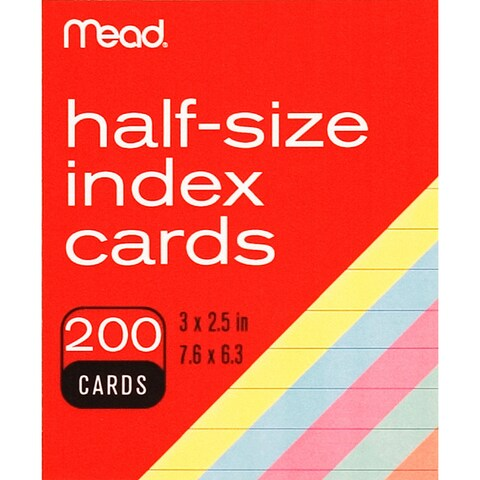 """MeadWestvaco 63039 3"""" X 2-1/2"""" Ruled Index Cards Assorted Colors 200 Count"""