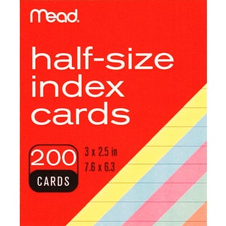 "MeadWestvaco 63039 3"" X 2-1/2"" Ruled Index Cards Assorted Colors 200 Count"