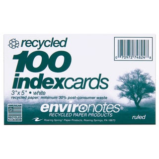 "Roaring Spring Paper Company 74824 3"" X 5"" Index Cards 100 Count"