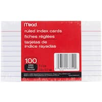 "MeadWestvaco 63350 3"" X 5"" White Ruled Index Cards 100 Count"