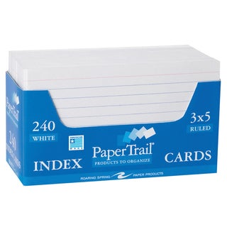 "Roaring Spring Paper Company 28031 3"" X 5"" White Ruled Index Cards 240 Count"
