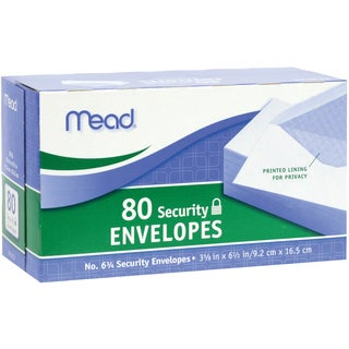 """MeadWestvaco 75212 3-5/8"""" X 6-1/2"""" #6-3/4 Security Envelopes 80 Count"""