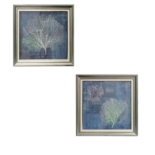 Coastal Collection Corals Silver 25-inch 2-Piece Square Framed Wall Arts