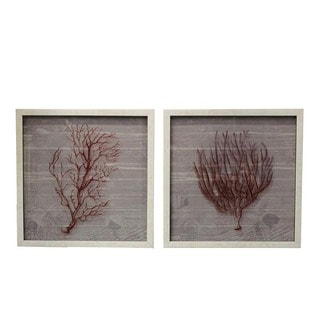 Urban Designs Coastal Collection Coral 2-piece Square Framed Wall Art
