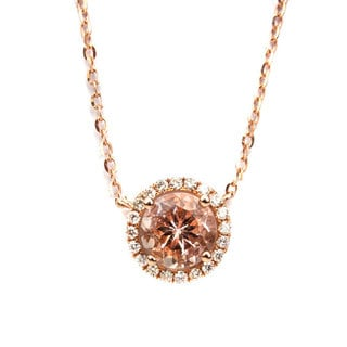 California Girl Jewelry 18k Rose Gold Morganite Diamond Necklace