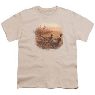 Wildlife/First Alert Pheasants Short Sleeve Youth 18/1 in Cream