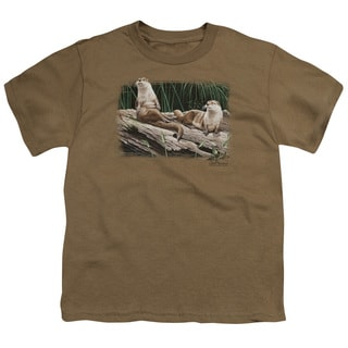 Wildlife/River Otters Short Sleeve Youth 18/1 in Safari Green