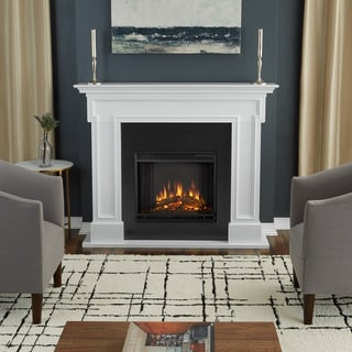 Real Flame Thayer White Wood Electric Fireplace