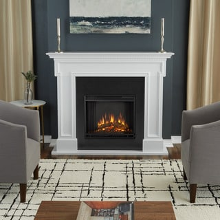 Thayer White Finish Electric Fireplace by Real Flame - 54.38L x 13W x 44.88H