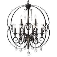 Golden Lighting's Ella Brown Steel 2-tier 9-light Chandelier
