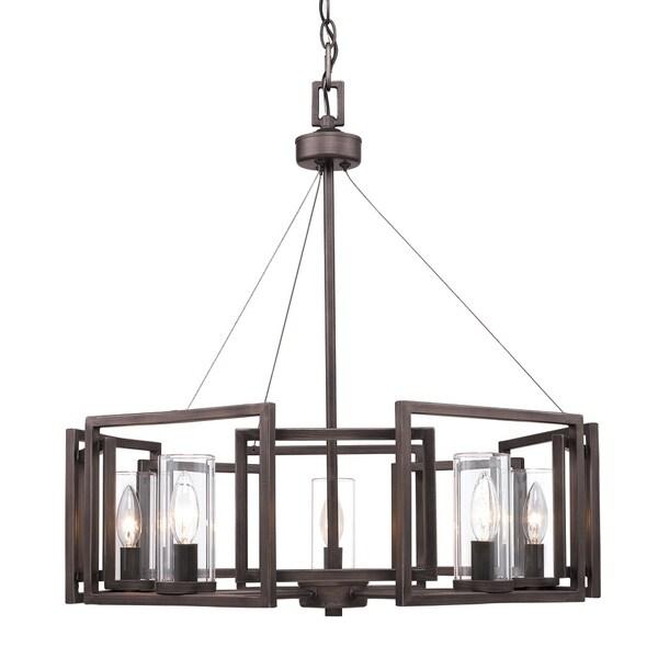 Golden Lighting's Brown Steel Marco 5-light Chandelier - Pewter