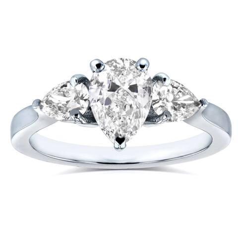 Annello by Kobelli Platinum Certified 1 1/2ct TDW Pear Cut Diamond Three Stone Ring