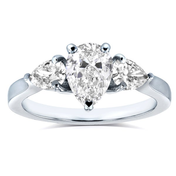 Annello by Kobelli Platinum Certified 1 1/2ct TDW Pear Cut Diamond Three Stone Ring. Opens flyout.