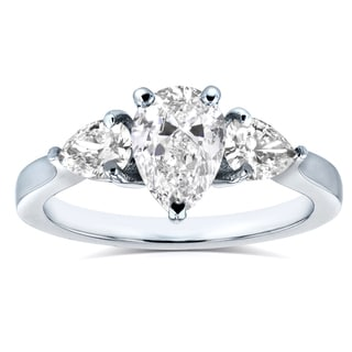 Annello Platinum Certified 1 1/2ct TDW Pear Cut Diamond Three Stone Ring (H-I, SI3) - Size 7