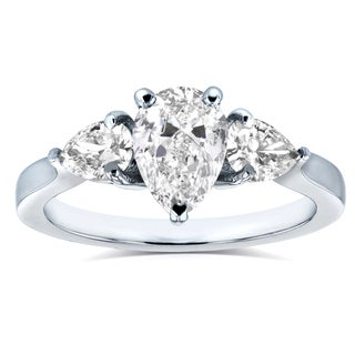 Annello by Kobelli Platinum Certified 1 1/2ct TDW Pear Cut Diamond Three Stone Ring (H-I,