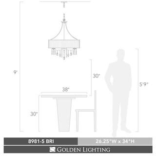Golden Lighting #8981-5 BRI Echelon 5-light Chandelier