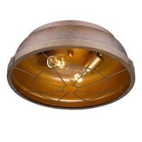 Golden Lighting 7312-FM CP Bartlett Brown Steel Flushmount Light