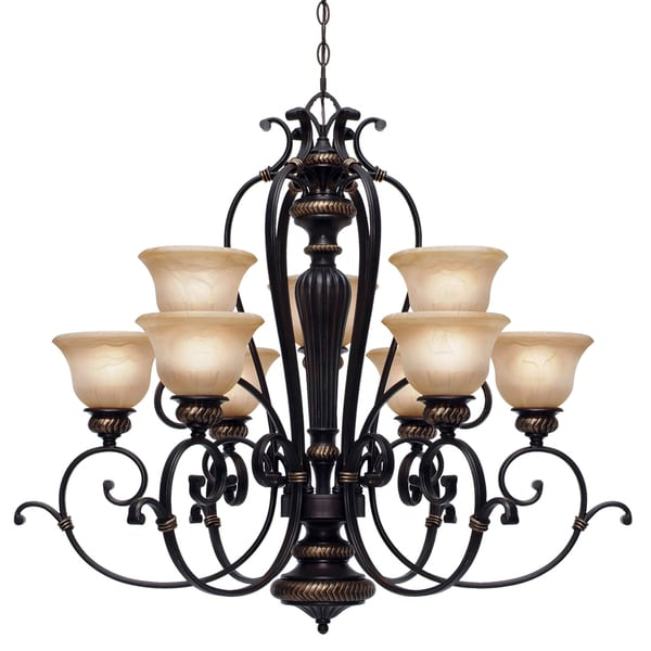 Golden Lighting Jefferson 2-tier 9-light Chandelier
