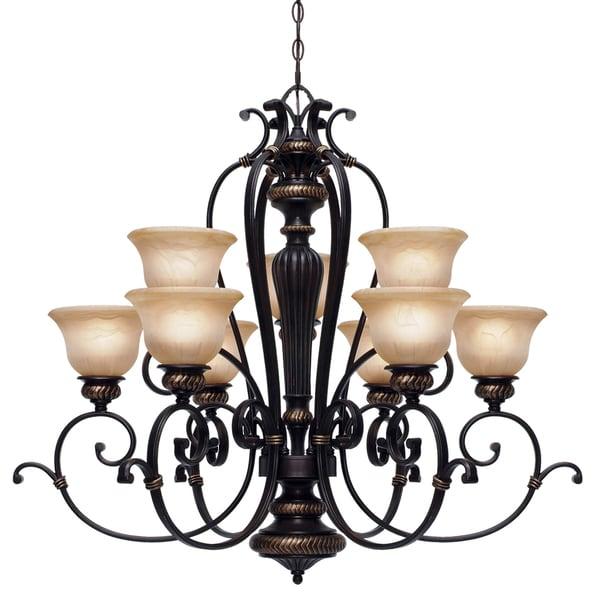 Golden Lighting Jefferson 2-tier 9-light Chandelier - Pewter