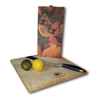 WGI Gallery Maple Leaves and Cardinals White Birch Plywood Cutting Board