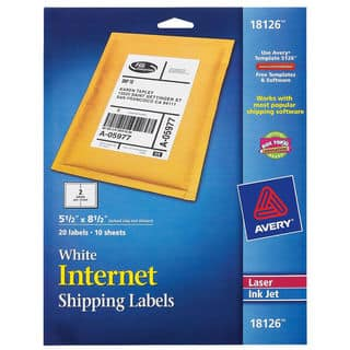 "Avery 18126 5-1/2"" X 8-1/2"" White Shipping Labels 20 Count