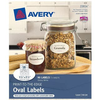 "Avery 22814 1-1/2"" X 2-1/2"" Glossy White Oval Print To The Edge Labels 9