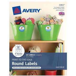 "Avery 22817 2"" Diameter Round Glossy White Print To The Edge Labels 60"