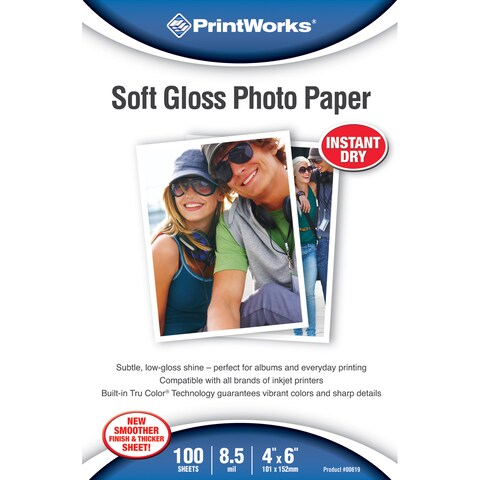 "PrintWorks 00619 4"" X 6"" Soft Gloss Photo Paper"