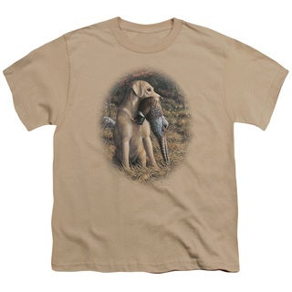 Wildlife/Yellow Lab With Pheasant Short Sleeve Youth 18/1 in Sand