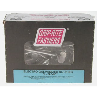 """Grip Rite 112EGRFG1 1-1/2"""" Electro Galvanized Smooth/Barbed Shank Roofing Nail"""