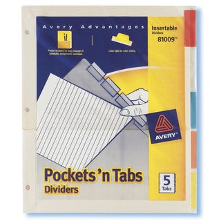 Avery 81009 5 Count Assorted Colors Pockets' N Tabs Dividers