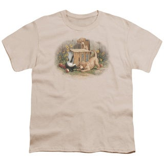 Wildlife/Don't Talk Strangers Short Sleeve Youth 18/1 in Cream