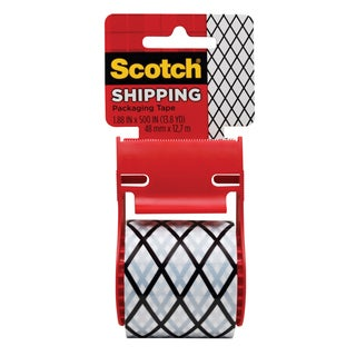 "3M 141-PRTD2 1.88"" X 500"" Black & White Scotch Shipping Packaging Tape"