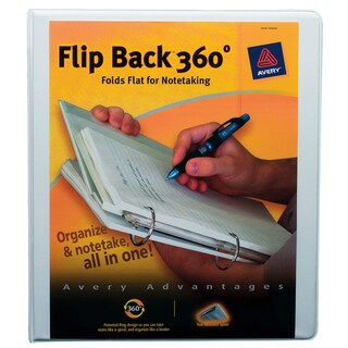 "Avery 17560 1"" White Flip Back 360-degree View Binder"