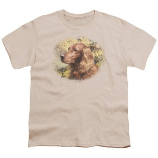 Wildlife/Irish Setter Head Short Sleeve Youth 18/1 in Cream