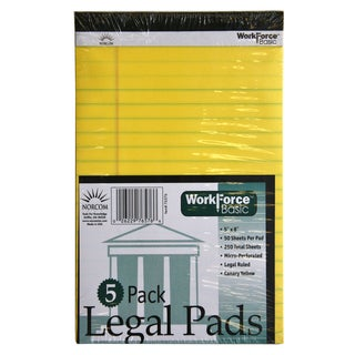 "Norcom 76576-12 5"" X 8"" Canary 50 Sheet Legal Pads 5 Count"