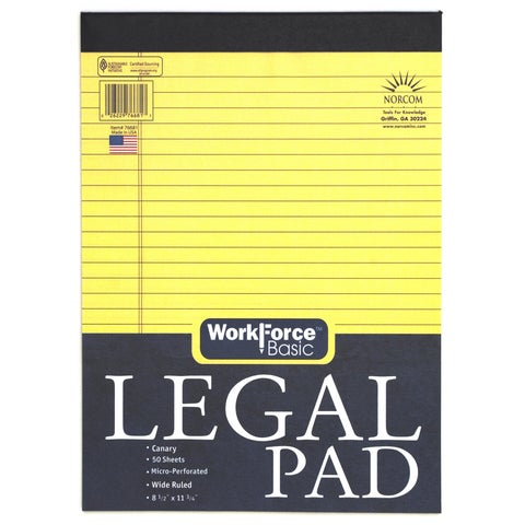 """Norcom 76681-12 8.5"""" X 11.75"""" Canary Legal Pad 50 Pages"""