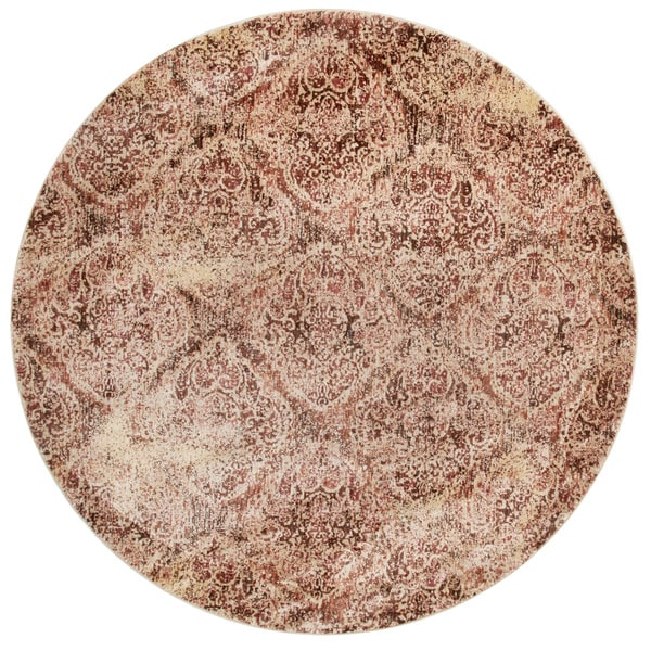 Traditional Brown/ Antique Ivory Distressed Round Rug - 7'10 x 7'10