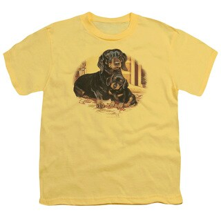 Wildlife/Picture Perfect Dachshunds Short Sleeve Youth 18/1 in Banana