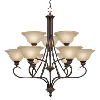 Golden Lighting Bronze Marbled Glass 9-light Lancaster Chandelier