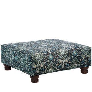 Skyline Furniture Telesto Moonlight Wood and Fabric Square Cocktail Ottoman