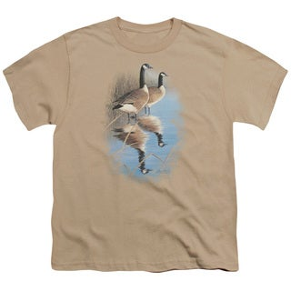 Wildlife/Morning Reflections Canada Geese Short Sleeve Youth 18/1 Sand