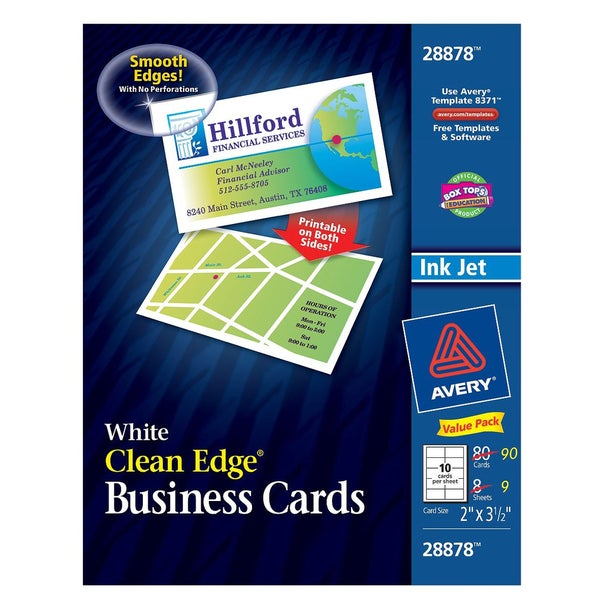 avery 28878 2 x 3 12 white clean edge business cards