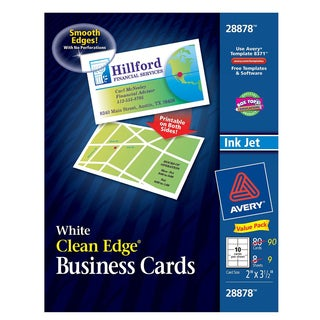 """Avery 28878 2"""" X 3-1/2"""" White Clean Edge Business Cards 80 Count"""