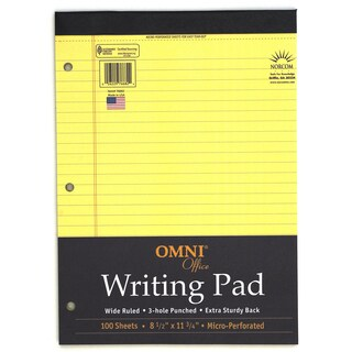 "Norcom 76682-8 8.5"" X 11.75"" Canary Legal Pad 100 Pages"
