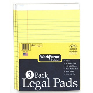"""Norcom 76683-12 8.5"""" X 11.75"""" Canary Legal Pad 50 Pages 3 Count"""