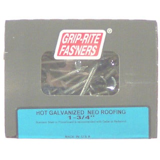"Grip Rite 134HGNEO1 1-3/4"" Hot Dipped Galvanized Roofing Nails 1 Lb"