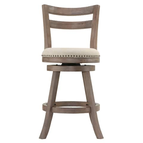 The Gray Barn McNiven Beige Fabric Swivel Seat Counter Stool